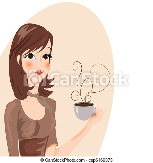 Girl drinking Coffee - Vector - csp6169373