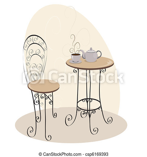 French Cafe Table - csp6169393