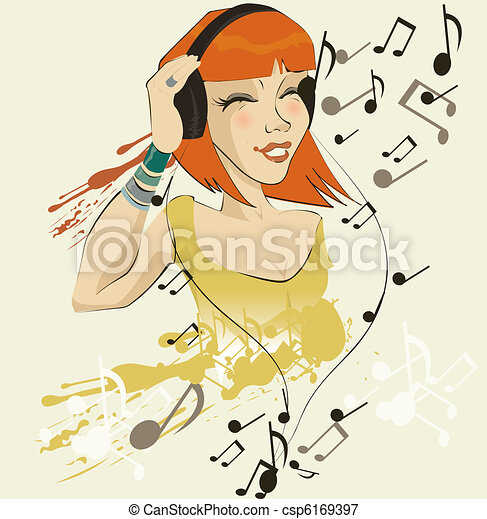 vector image of girl listening to music  - csp6169397