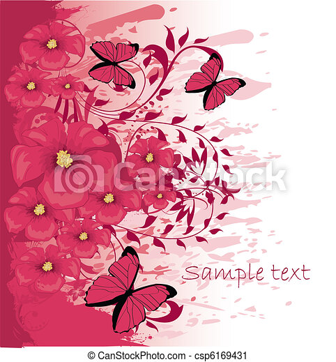 Grunge paint flower background with butterfly, element for design, vector illustration - csp6169431