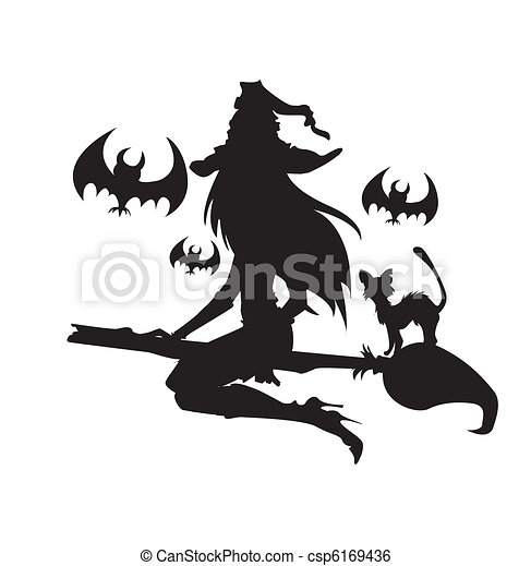 Illustration of a witch with Halloween elements. One color. - csp6169436