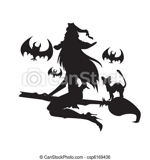 Vector , elementos, Halloween, Ilustración, Color, bruja, Uno