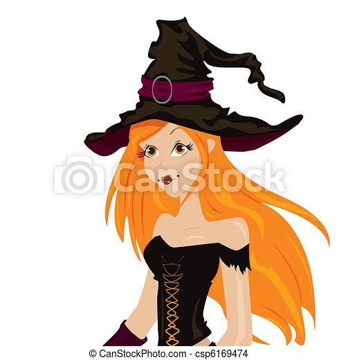 Beautiful sexy witch with long red hair and hat - csp6169474