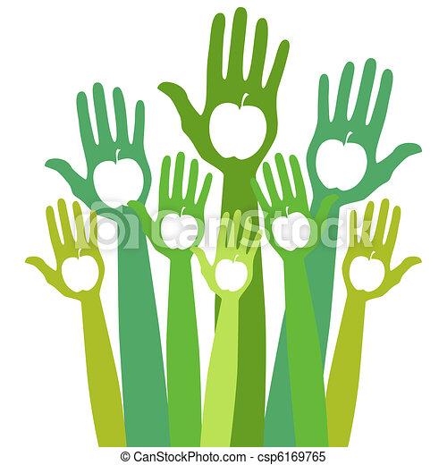 Healthy apple hands design.  - csp6169765