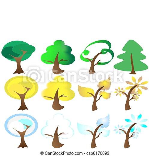 Four Seasons Tree Icons - csp6170093