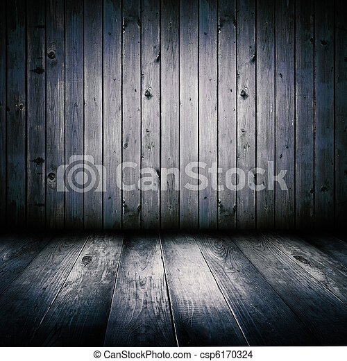 Interior of an old wooden shed, illuminated by the full moon. - csp6170324