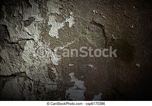 Grunge cement wall with dramatic light - csp6170386
