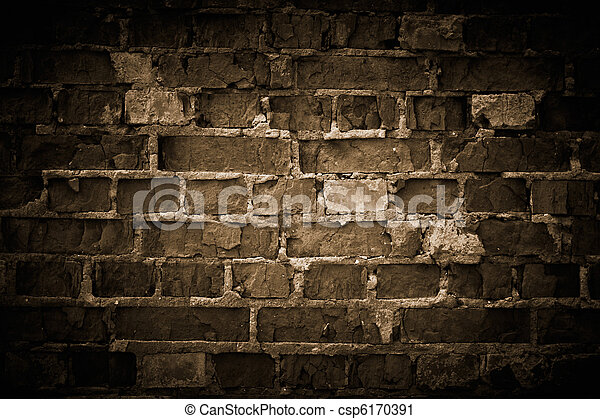 Rough brick wall, toned. - csp6170391