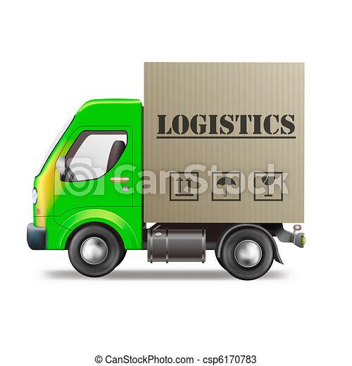 Dibujos de logística, entrega, camión, cartón, caja, carga ...