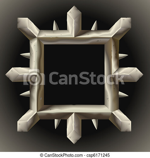Rusty spiky metal frame border - csp6171245