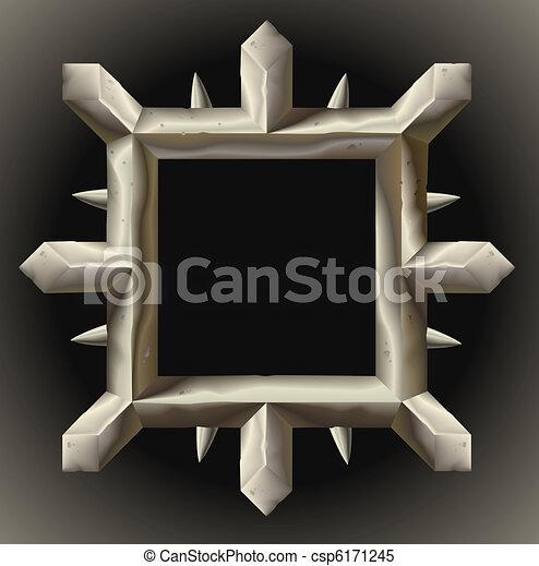 Rusty spiky metal frame border - csp6171245