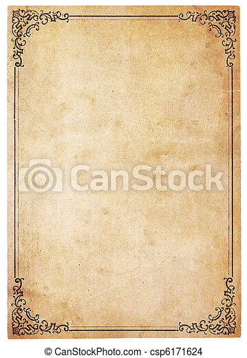 Blank Antique Paper With Vintage Border - csp6171624