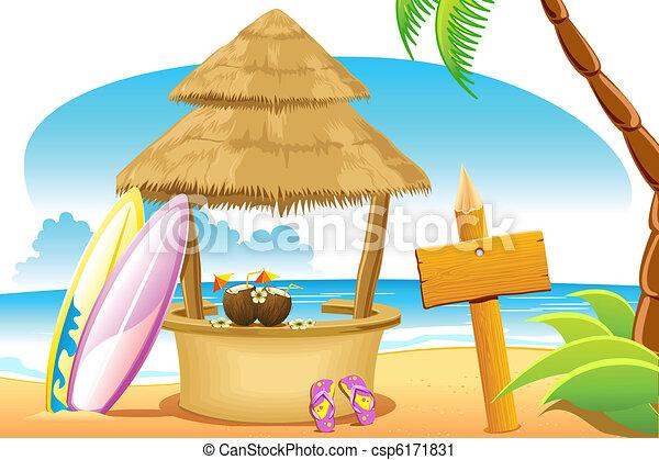 Straw Hut and Surfing Board in Beach - csp6171831