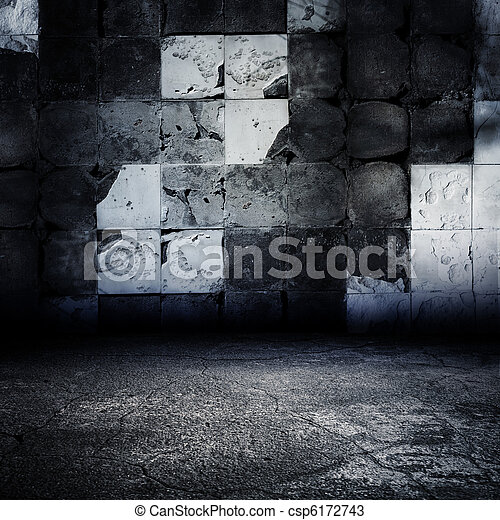 Dark Grungy Abandoned Tiled Room. - csp6172743
