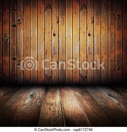 Vintage yellow wooden planks interior - csp6172746