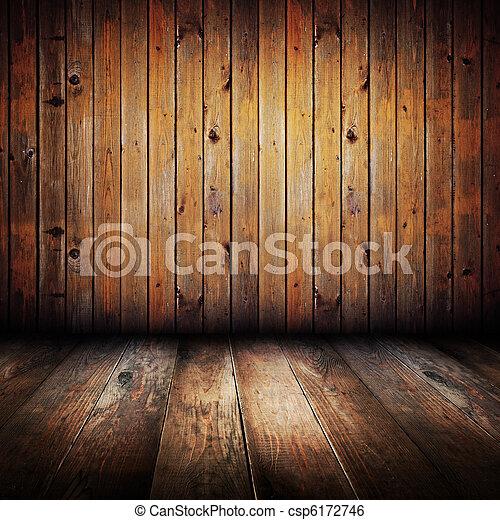 Vintage yellow wooden planks interior  - csp6172746