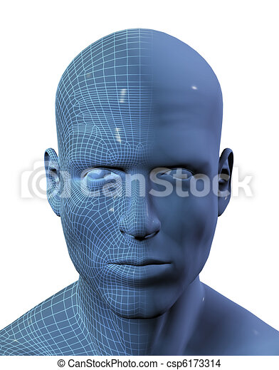 3D render of males head with wireframe on half - csp6173314