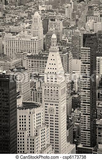 New York City Manhattan downtown skyline black and white - csp6173738