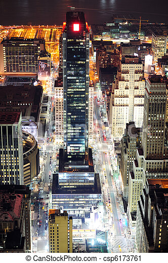 New York City Manhattan street aerial view at night - csp6173761