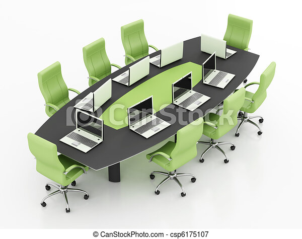 meeting table with notebook - csp6175107