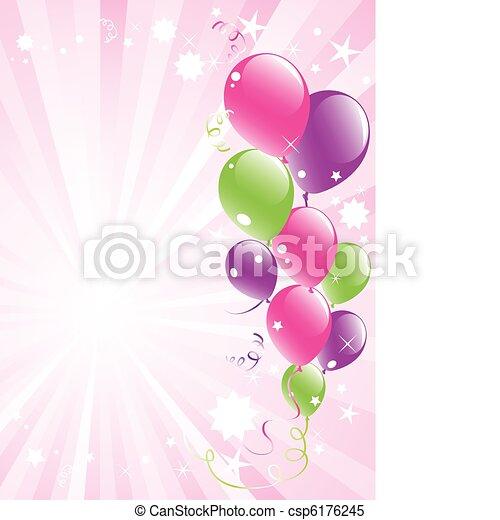 festive balloons and lightburst - csp6176245