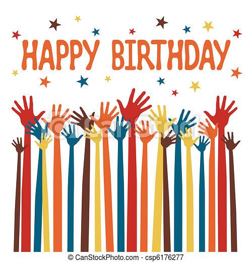 Happy birthday hands design.  - csp6176277