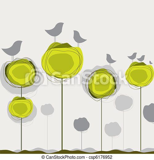 Background with birds, tree. Vector illustration - csp6176952