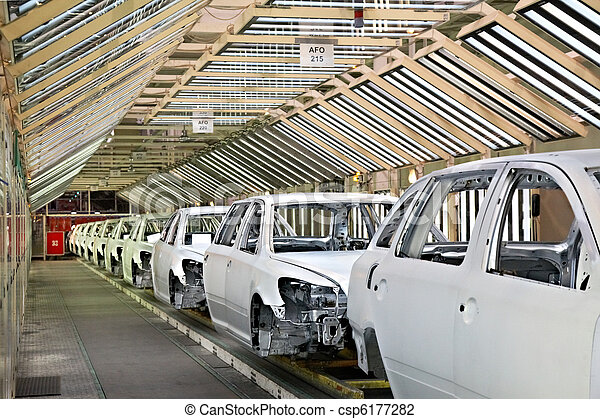 cars in a row at car plant - csp6177282