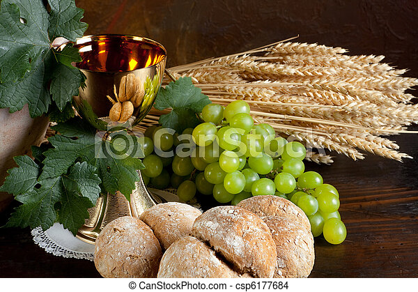 Bread and wine for communion - csp6177684