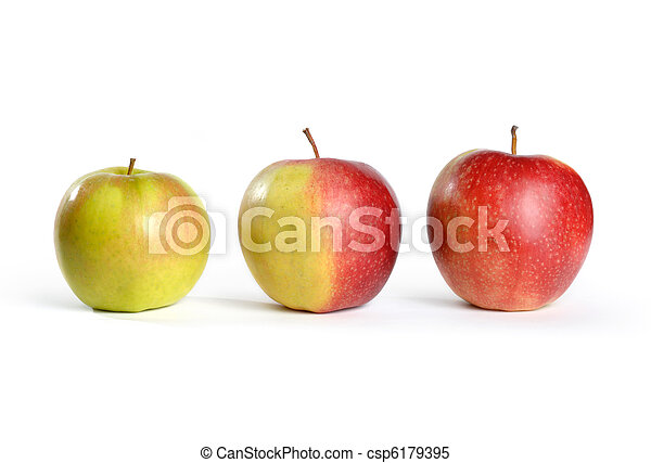 Three Apples From Green to Red - csp6179395