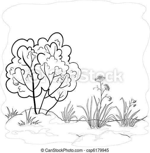 Garden with a bush, contours - csp6179945