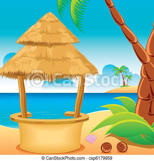 Hut on Beach - csp6179959