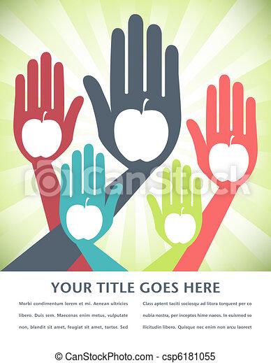 Healthy apple hands design. - csp6181055