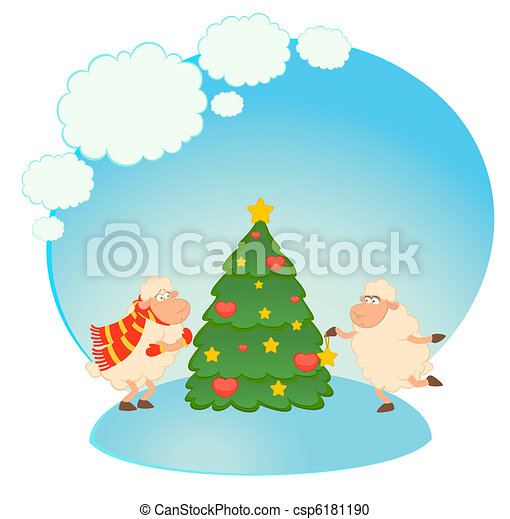 funny sheep dresses up a fir-tree - csp6181190