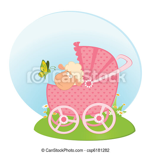 sheep with scribble baby carriage - csp6181282