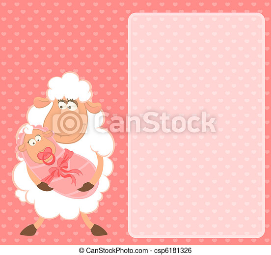 sheep mother with infant baby - csp6181326