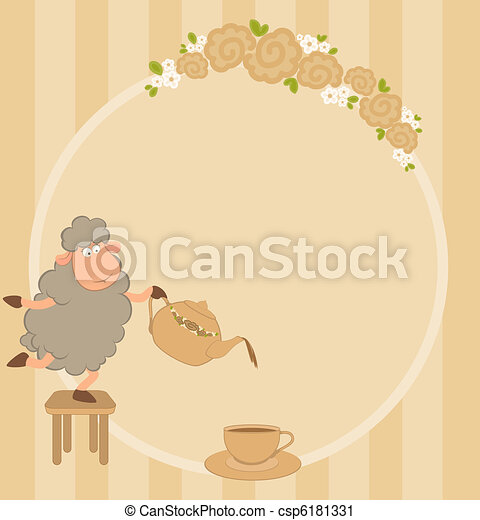 sheep pours tea from a tea-pot  - csp6181331