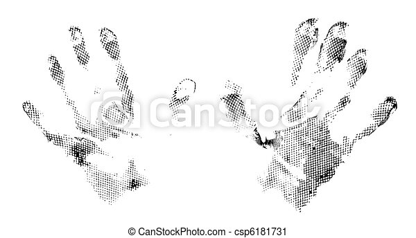 grunge abstract imprints of hands - csp6181731
