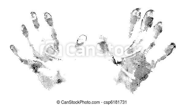 grunge abstract imprints of hands - csp6181731