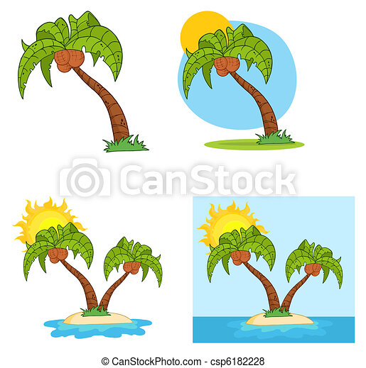 Set Of Cartoon Palm Tree  - csp6182228