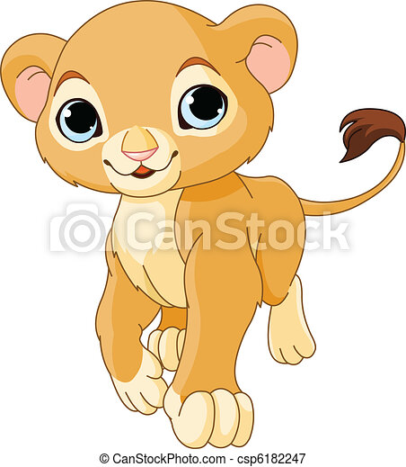 Walking   Lion Cub - csp6182247