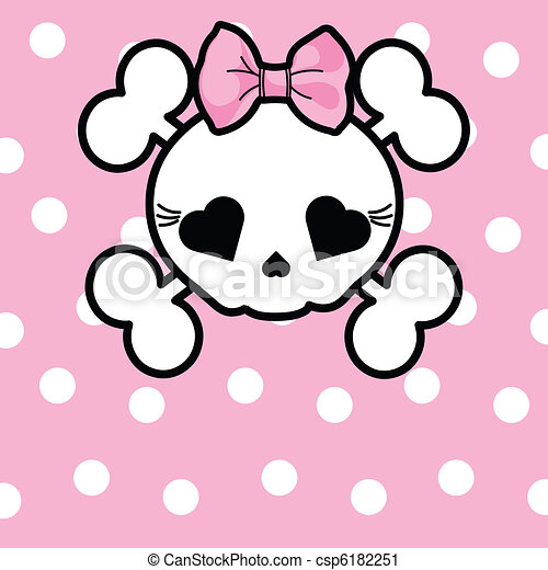 Cute Skull with bow - csp6182251