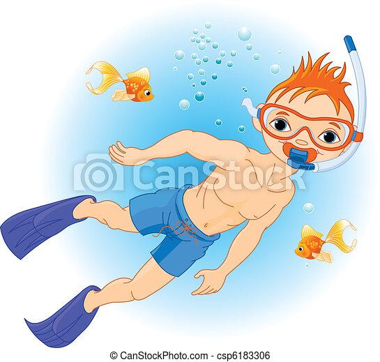 Menino, natação, sob, água - csp6183306
