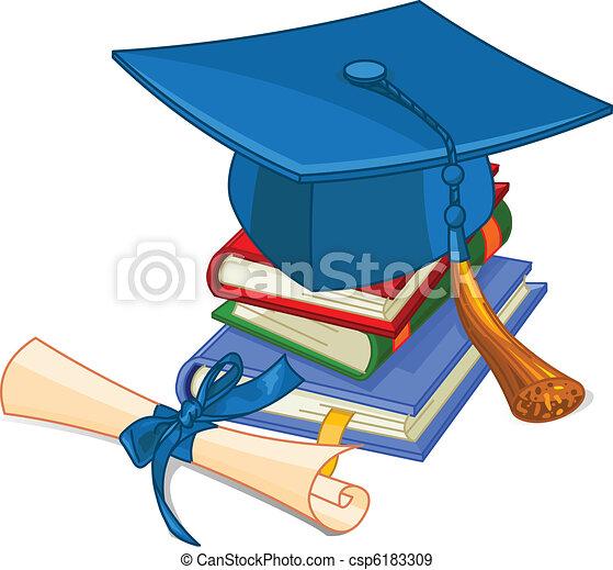 Graduation cap and diploma - csp6183309