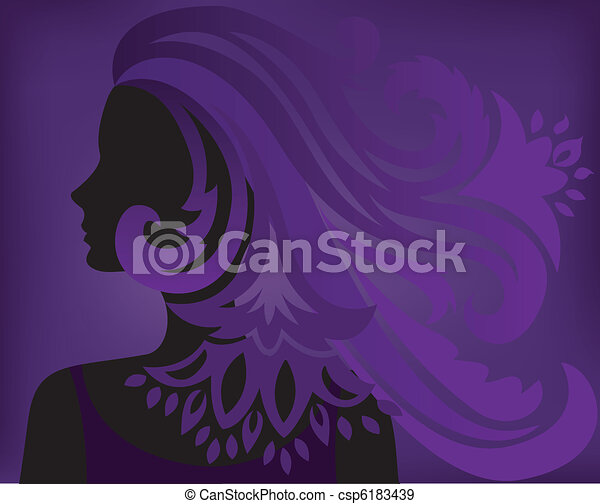 Purple background with a silhouette of a woman - csp6183439