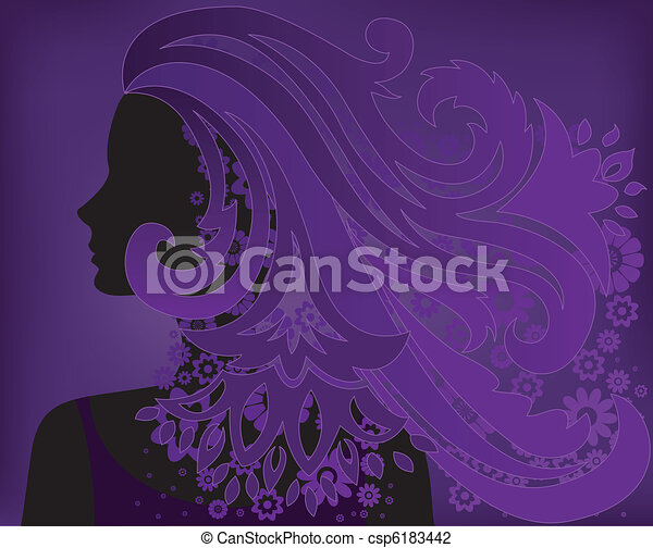 girl with purple hair flower - csp6183442