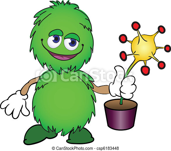 Furry creature with a flower pot - csp6183448