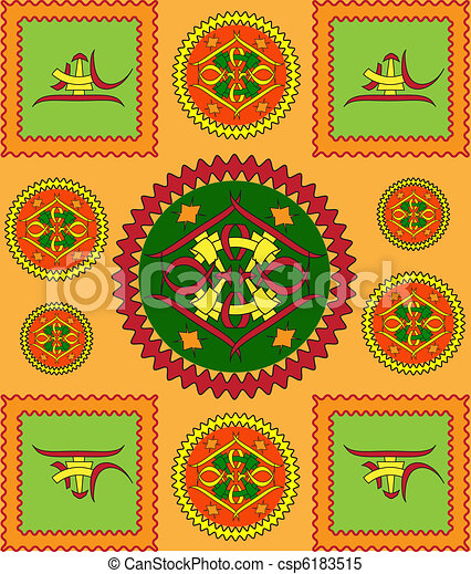 The sample of ornaments of different nations of the world, geometrical figures  - csp6183515