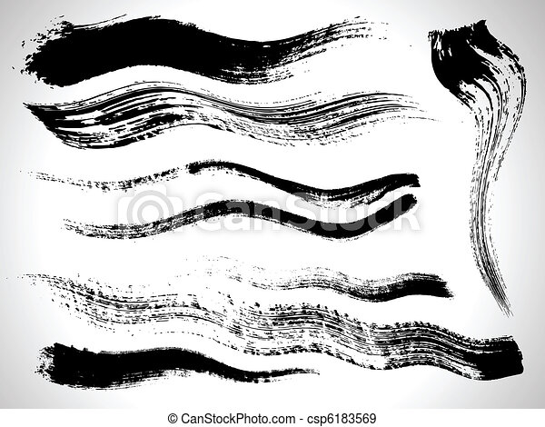 vector ink brush strokes set - csp6183569