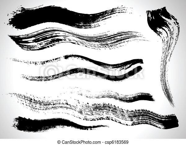 vector ink brush strokes set - csp6183569